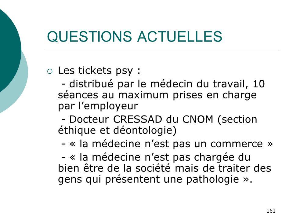 161 QUESTIONS ACTUELLES Les tickets psy : - distribué par le médecin du travail, 10 séances au maximum prises en charge par lemployeur - Docteur CRESS