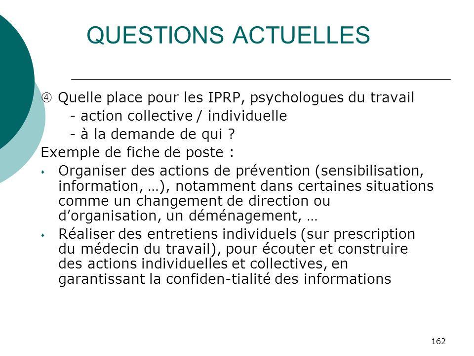 162 QUESTIONS ACTUELLES Quelle place pour les IPRP, psychologues du travail - action collective / individuelle - à la demande de qui ? Exemple de fich