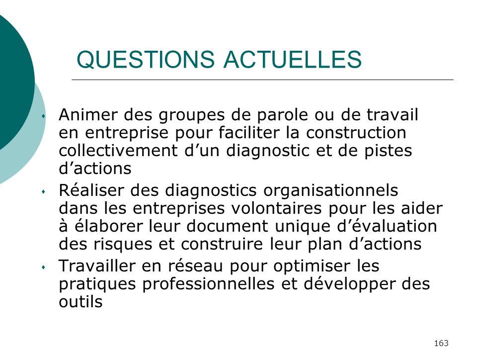 163 QUESTIONS ACTUELLES Animer des groupes de parole ou de travail en entreprise pour faciliter la construction collectivement dun diagnostic et de pi