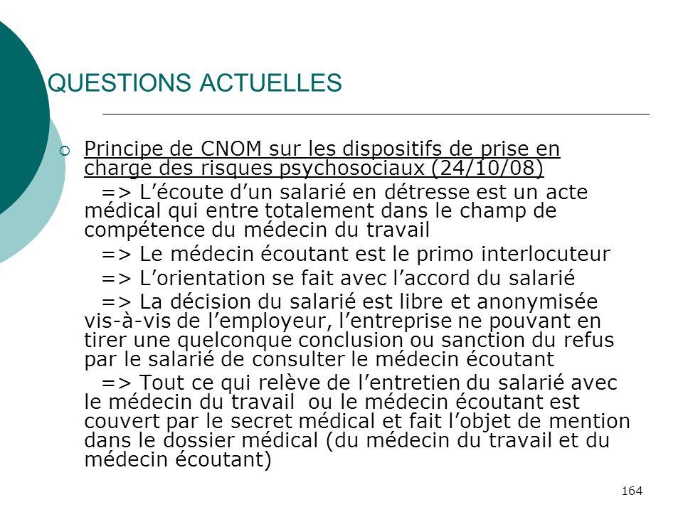 164 QUESTIONS ACTUELLES Principe de CNOM sur les dispositifs de prise en charge des risques psychosociaux (24/10/08) => Lécoute dun salarié en détress