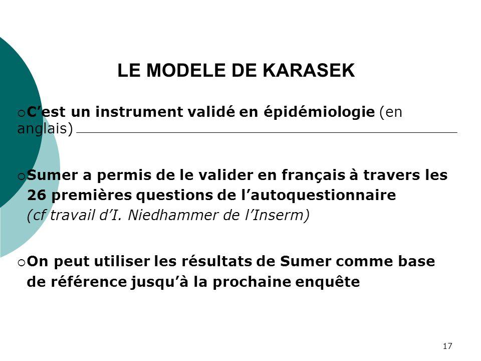 17 Cest un instrument validé en épidémiologie (en anglais) Sumer a permis de le valider en français à travers les 26 premières questions de lautoquest