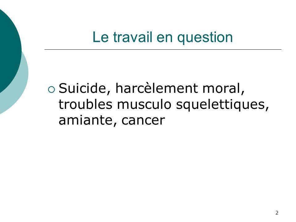2 Le travail en question Suicide, harcèlement moral, troubles musculo squelettiques, amiante, cancer