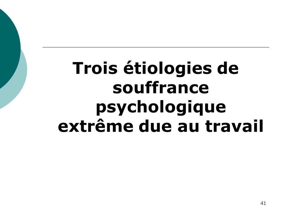 41 Trois étiologies de souffrance psychologique extrême due au travail