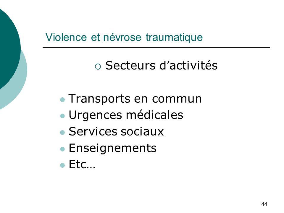 44 Violence et névrose traumatique Secteurs dactivités Transports en commun Urgences médicales Services sociaux Enseignements Etc…