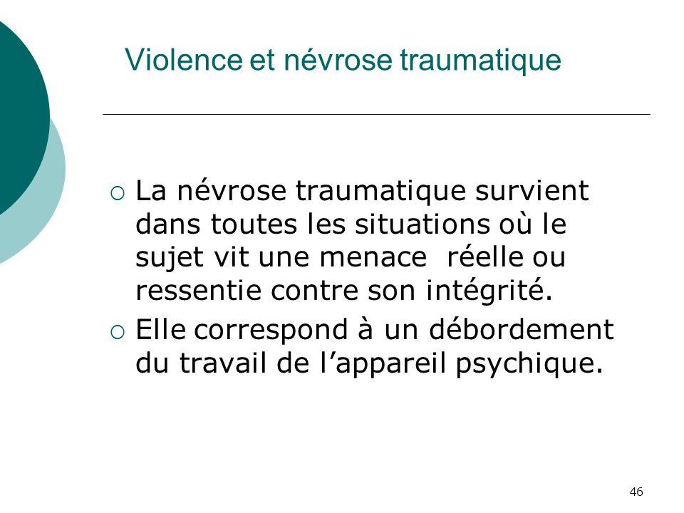 46 Violence et névrose traumatique La névrose traumatique survient dans toutes les situations où le sujet vit une menace réelle ou ressentie contre so