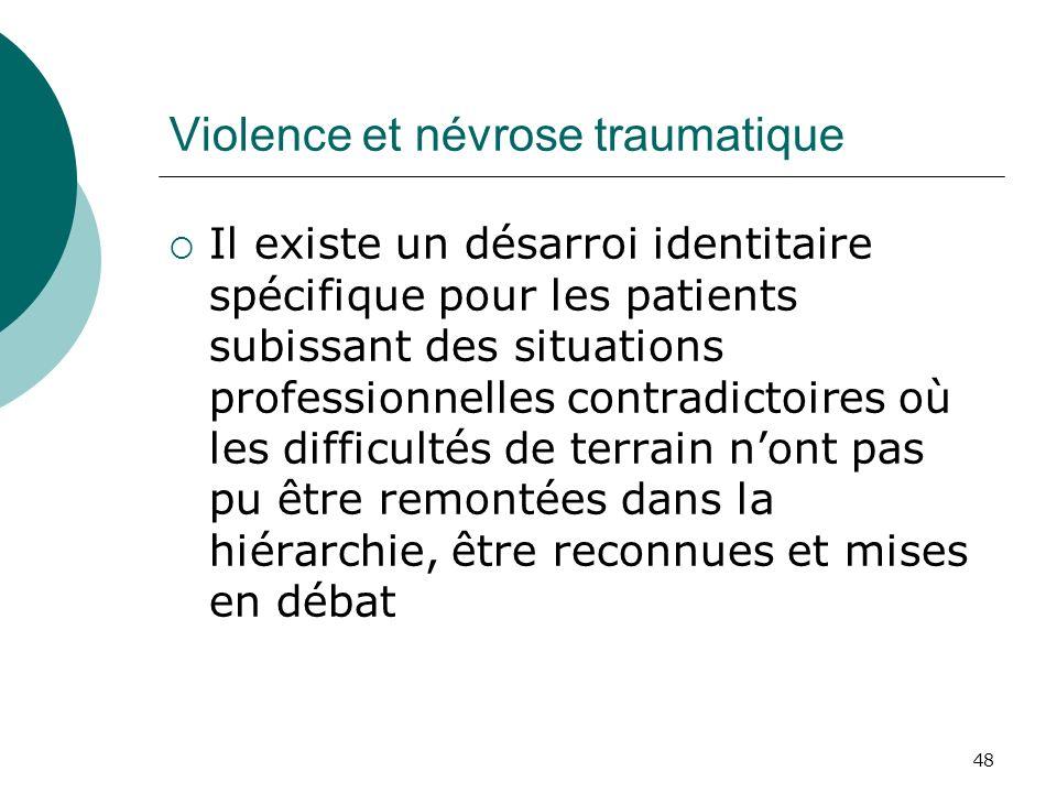 48 Violence et névrose traumatique Il existe un désarroi identitaire spécifique pour les patients subissant des situations professionnelles contradict