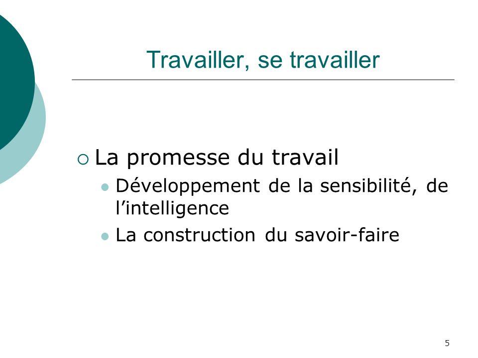 5 Travailler, se travailler La promesse du travail Développement de la sensibilité, de lintelligence La construction du savoir-faire