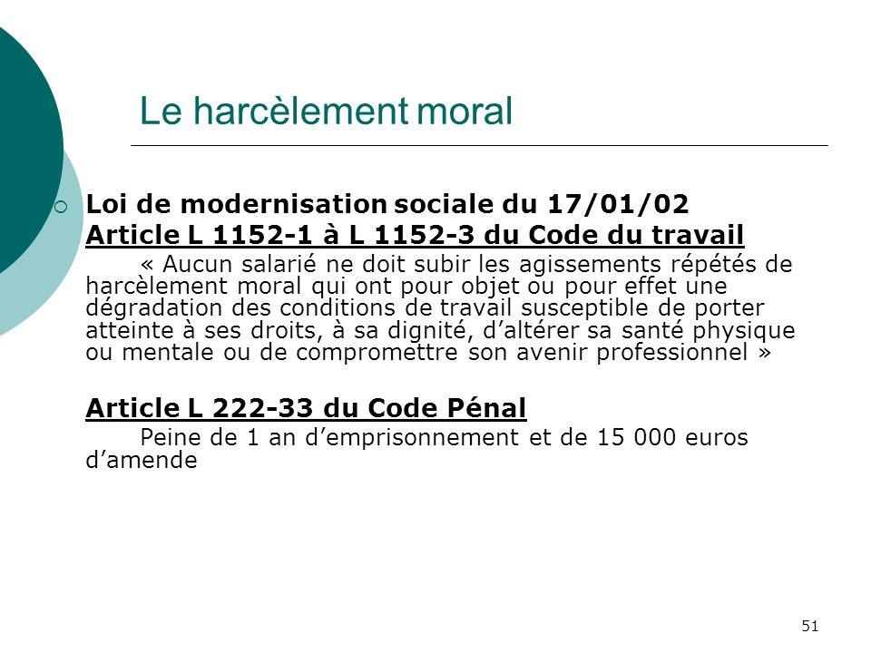 51 Le harcèlement moral Loi de modernisation sociale du 17/01/02 Article L 1152-1 à L 1152-3 du Code du travail « Aucun salarié ne doit subir les agis