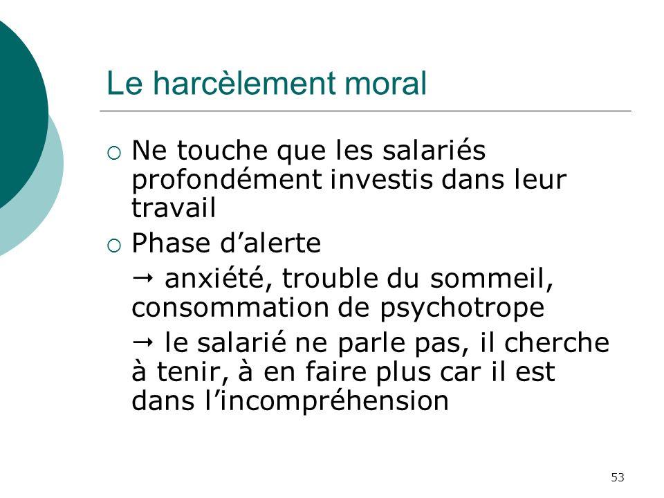 53 Le harcèlement moral Ne touche que les salariés profondément investis dans leur travail Phase dalerte anxiété, trouble du sommeil, consommation de