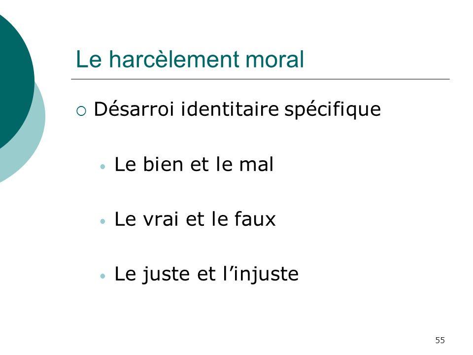 55 Le harcèlement moral Désarroi identitaire spécifique Le bien et le mal Le vrai et le faux Le juste et linjuste