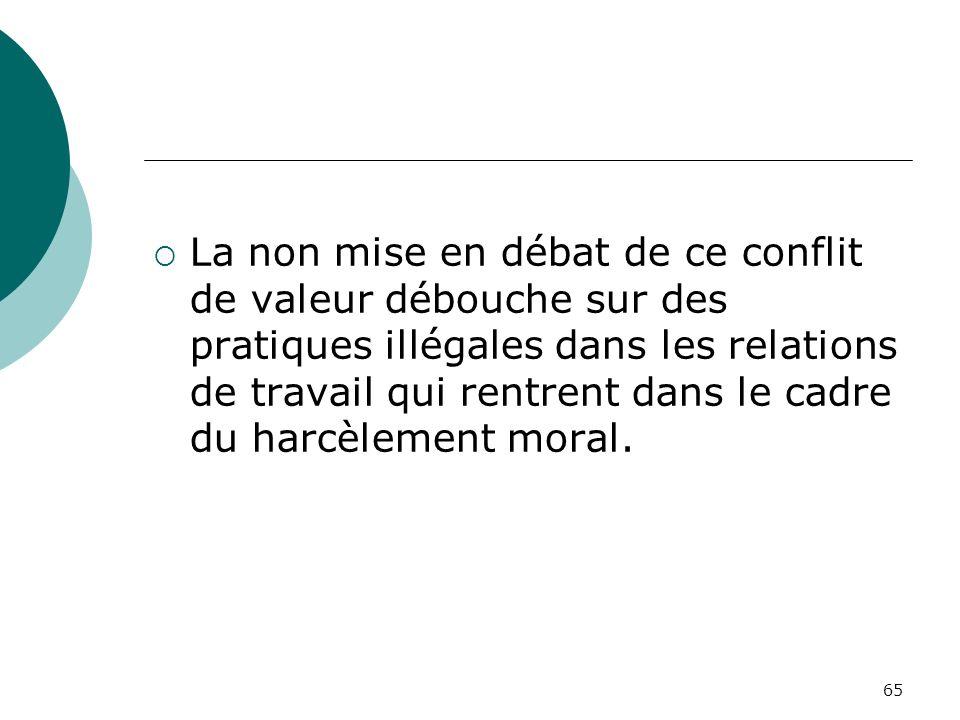 65 La non mise en débat de ce conflit de valeur débouche sur des pratiques illégales dans les relations de travail qui rentrent dans le cadre du harcè