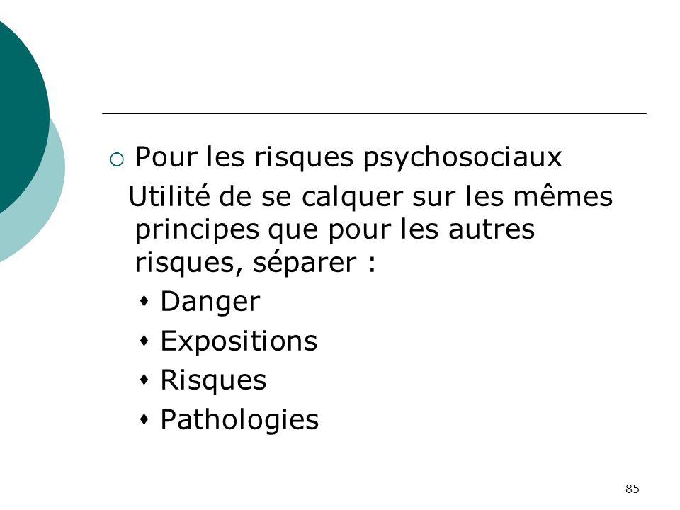85 Pour les risques psychosociaux Utilité de se calquer sur les mêmes principes que pour les autres risques, séparer : Danger Expositions Risques Path