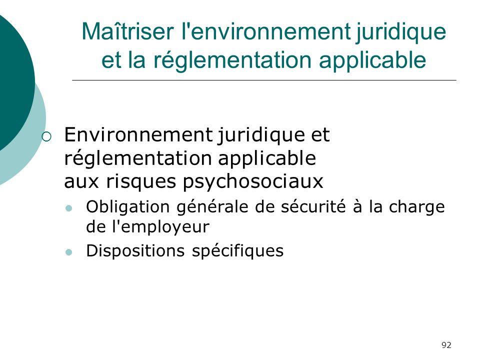 92 Maîtriser l'environnement juridique et la réglementation applicable Environnement juridique et réglementation applicable aux risques psychosociaux