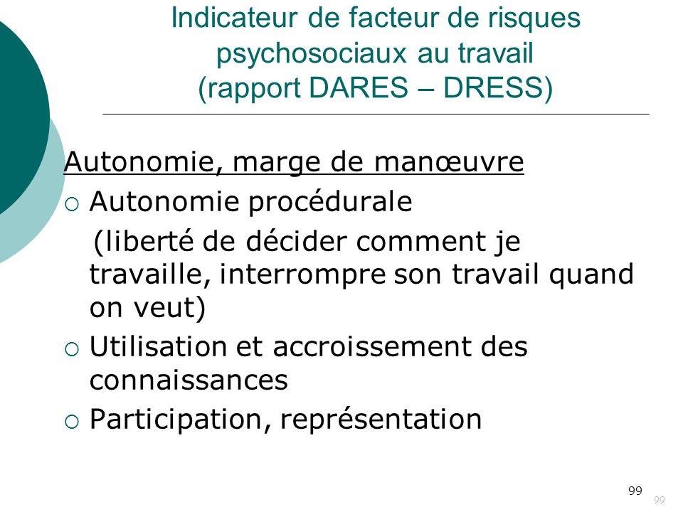 99 Indicateur de facteur de risques psychosociaux au travail (rapport DARES – DRESS) Autonomie, marge de manœuvre Autonomie procédurale (liberté de dé