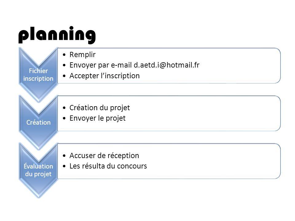 planning Fichier inscription Remplir Envoyer par e-mail d.aetd.i@hotmail.fr Accepter linscription Création Création du projet Envoyer le projet Évalua