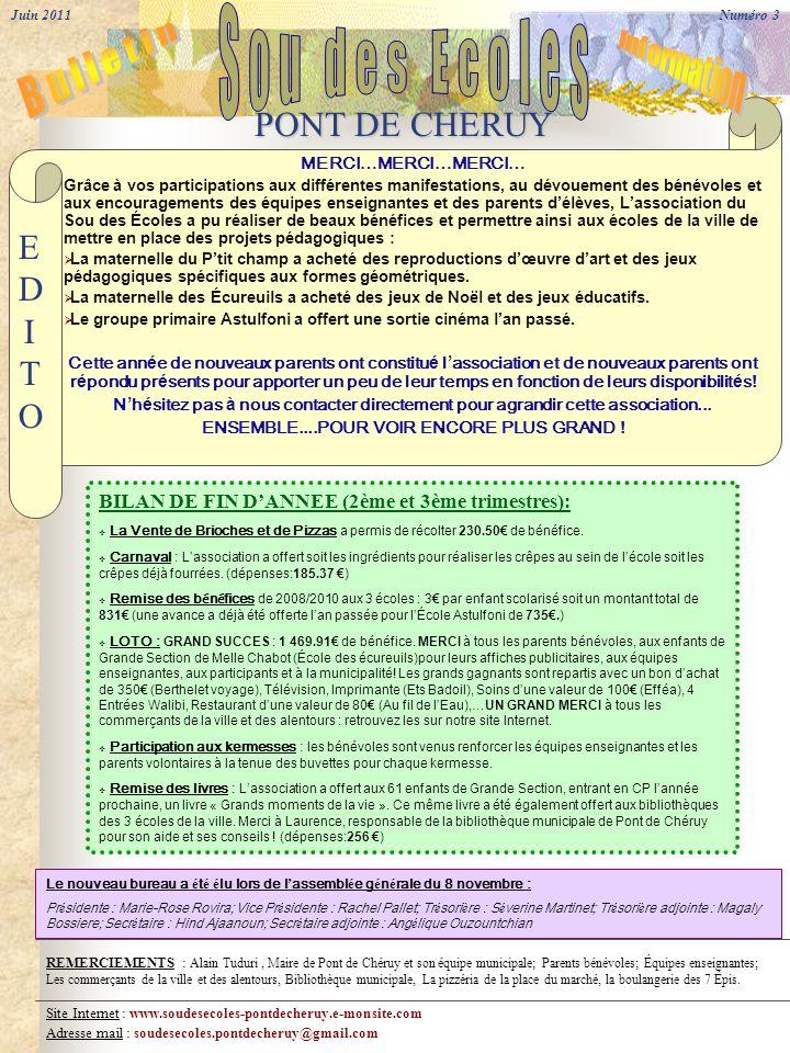 Site Internet : www.soudesecoles-pontdecheruy.e-monsite.com Adresse mail : soudesecoles.pontdecheruy@gmail.com Le nouveau bureau a é t é é lu lors de l assembl é e g é n é rale du 8 novembre : Pr é sidente : Marie-Rose Rovira; Vice Pr é sidente : Rachel Pallet; Tr é sori è re : S é verine Martinet; Tr é sori è re adjointe : Magaly Bossiere; Secr é taire : Hind Ajaanoun; Secr é taire adjointe : Ang é lique Ouzountchian MERCI…MERCI…MERCI… Grâce à vos participations aux différentes manifestations, au dévouement des bénévoles et aux encouragements des équipes enseignantes et des parents délèves, Lassociation du Sou des Écoles a pu réaliser de beaux bénéfices et permettre ainsi aux écoles de la ville de mettre en place des projets pédagogiques : La maternelle du Ptit champ a acheté des reproductions dœuvre dart et des jeux pédagogiques spécifiques aux formes géométriques.
