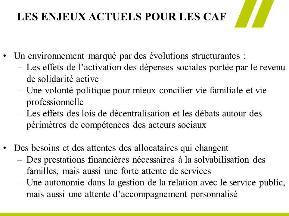 LES ENJEUX ACTUELS POUR LES CAF Un environnement marqué par des évolutions structurantes : – –Les effets de lactivation des dépenses sociales portée p
