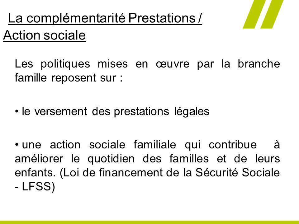 La complémentarité Prestations / Action sociale Les politiques mises en œuvre par la branche famille reposent sur : le versement des prestations légal