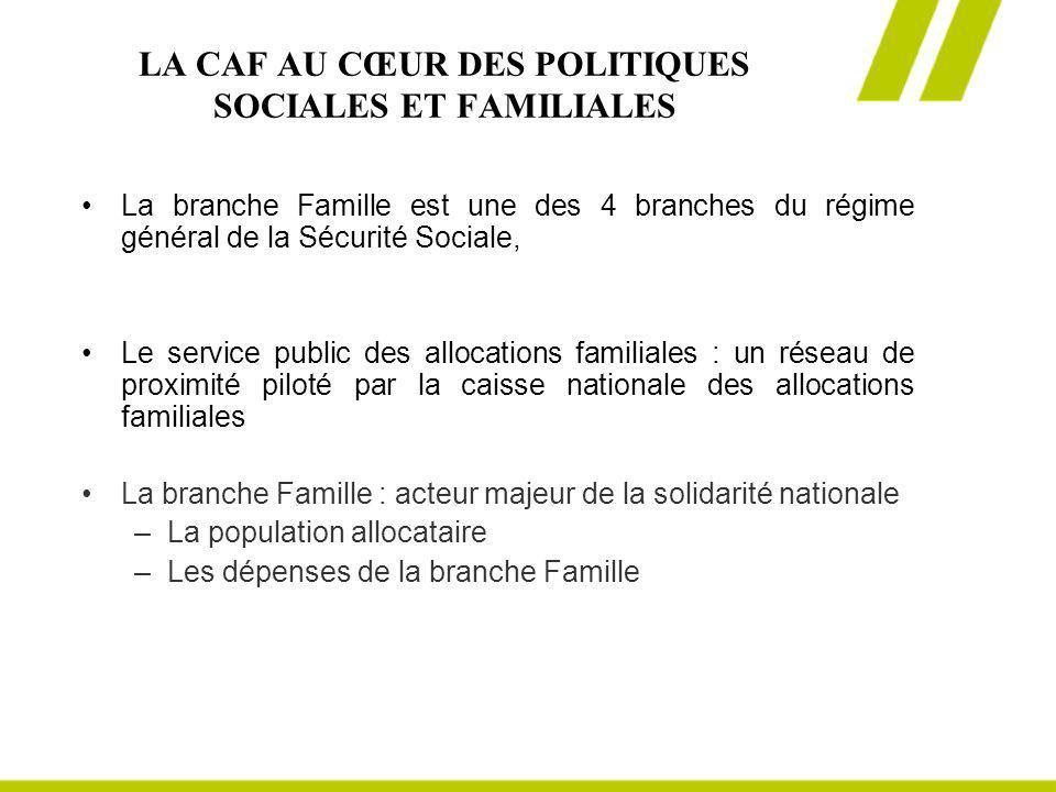 LA CAF AU CŒUR DES POLITIQUES SOCIALES ET FAMILIALES La branche Famille est une des 4 branches du régime général de la Sécurité Sociale, Le service pu