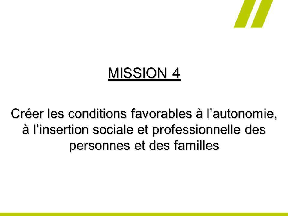 MISSION 4 Créer les conditions favorables à lautonomie, à linsertion sociale et professionnelle des personnes et des familles
