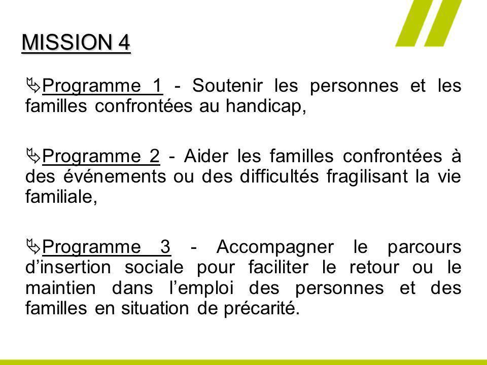 Programme 1 - Soutenir les personnes et les familles confrontées au handicap, Programme 2 - Aider les familles confrontées à des événements ou des dif