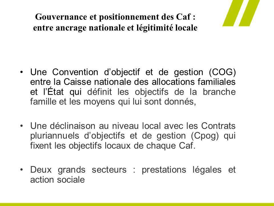 Gouvernance et positionnement des Caf : entre ancrage nationale et légitimité locale Une Convention dobjectif et de gestion (COG) entre la Caisse nati
