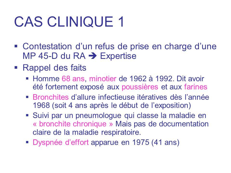 CAS CLINIQUE 1 Bilan immunologique en 1996 : tests immunologiques à la farine négatifs Evolution progressive vers une IRCO avec une dyspnée actuelle cotée ¾ Données cliniques de lexpertise Distension thoracique Freinage expiratoire Sibilants bilatéraux