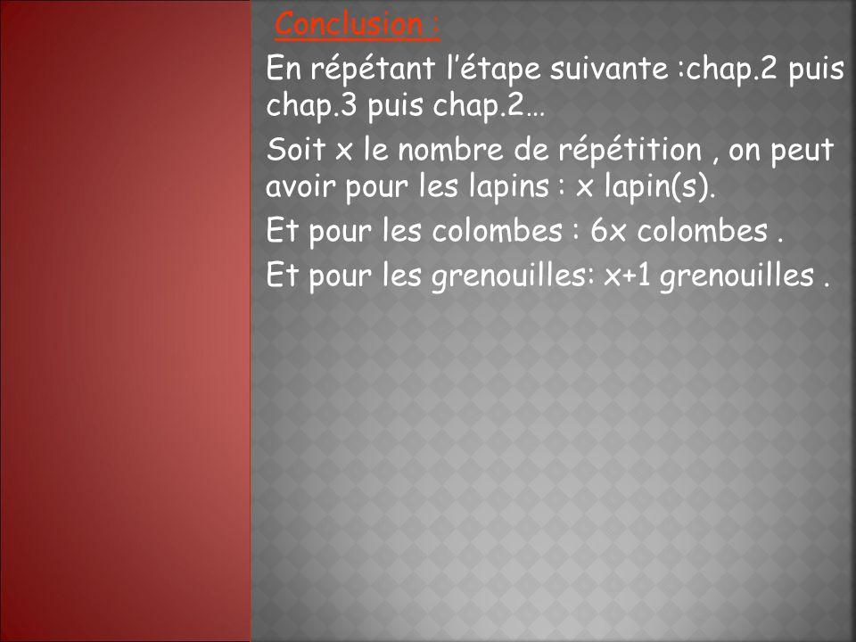 Conclusion : En répétant létape suivante :chap.2 puis chap.3 puis chap.2… Soit x le nombre de répétition, on peut avoir pour les lapins : x lapin(s).
