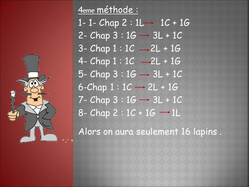 4 eme méthode : 1- 1- Chap 2 : 1L 1C + 1G 2- Chap 3 : 1G 3L + 1C 3- Chap 1 : 1C 2L + 1G 4- Chap 1 : 1C 2L + 1G 5- Chap 3 : 1G 3L + 1C 6-Chap 1 : 1C 2L + 1G 7- Chap 3 : 1G 3L + 1C 8- Chap 2 : 1C + 1G 1L Alors on aura seulement 16 lapins.