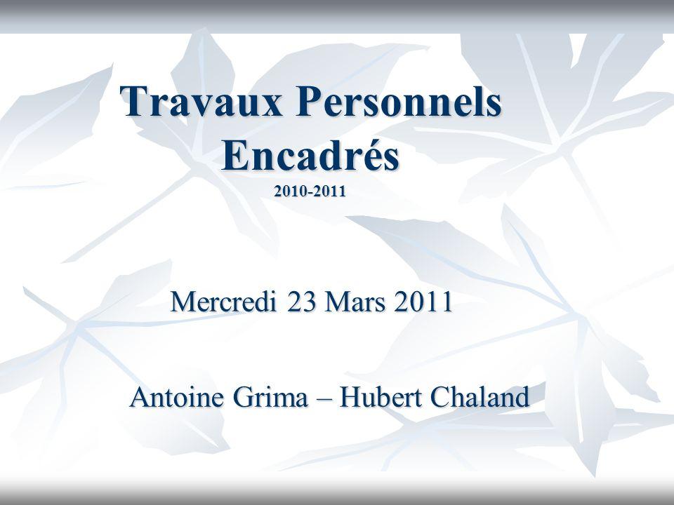 Travaux Personnels Encadrés 2010-2011 Mercredi 23 Mars 2011 Antoine Grima – Hubert Chaland