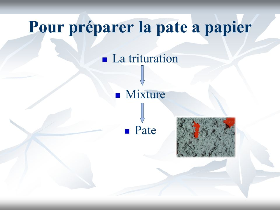 Pour préparer la pate a papier La trituration Mixture Pate