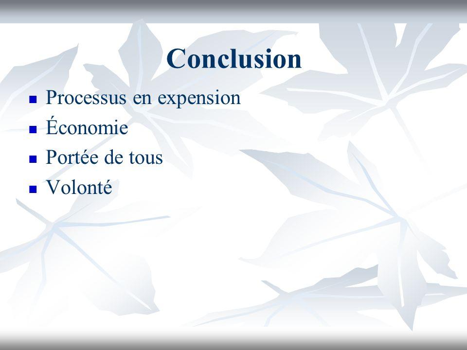 Conclusion Processus en expension Économie Portée de tous Volonté