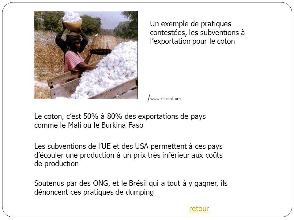 Le coton, cest 50% à 80% des exportations de pays comme le Mali ou le Burkina Faso Les subventions de lUE et des USA permettent à ces pays découler une production à un prix très inférieur aux coûts de production Soutenus par des ONG, et le Brésil qui a tout à y gagner, ils dénoncent ces pratiques de dumping / www.clicmali.org retour Un exemple de pratiques contestées, les subventions à lexportation pour le coton