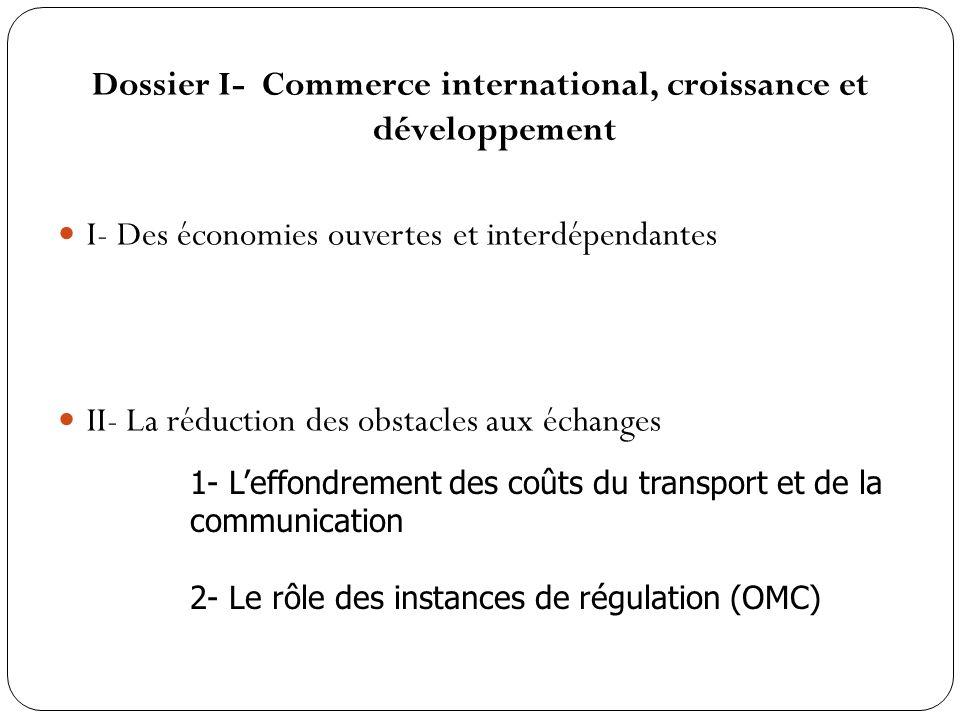 Reprise de la logique du manuel page 314 et 330 II- La réduction des obstacles aux échanges 1- Leffondrement des coûts du transport et de la communication 2- La libéralisation des échanges Ly- 2007- Actu 2010 et avril 2011 dia 25