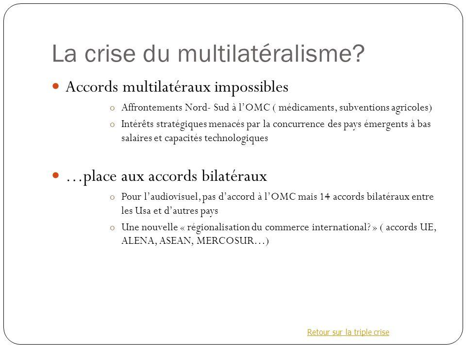 La crise du multilatéralisme.
