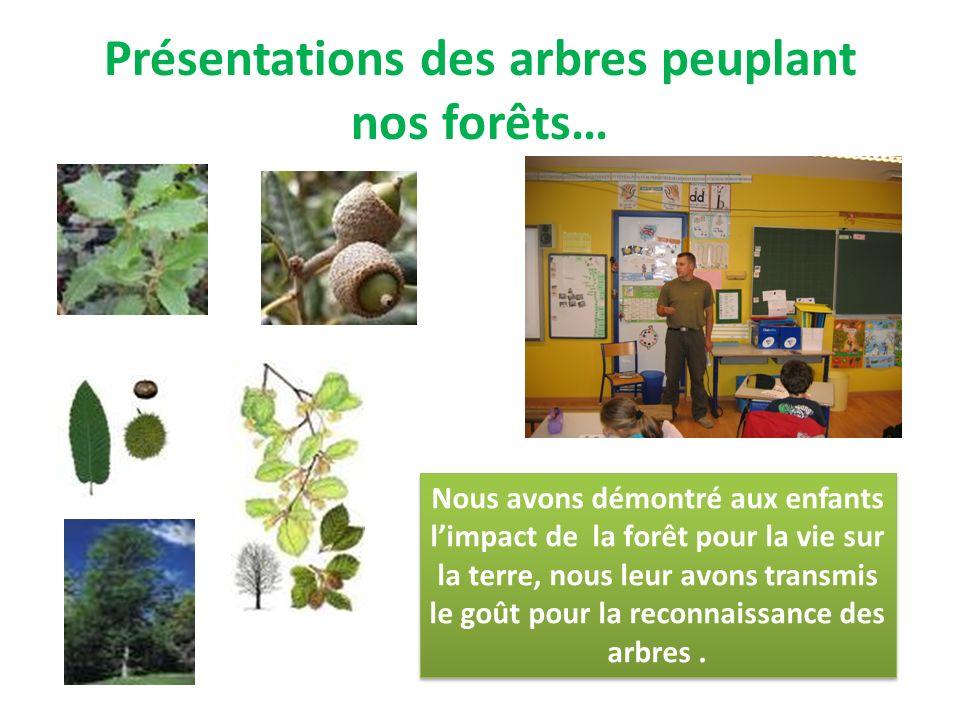 Présentations des arbres peuplant nos forêts… Nous avons démontré aux enfants limpact de la forêt pour la vie sur la terre, nous leur avons transmis le goût pour la reconnaissance des arbres.