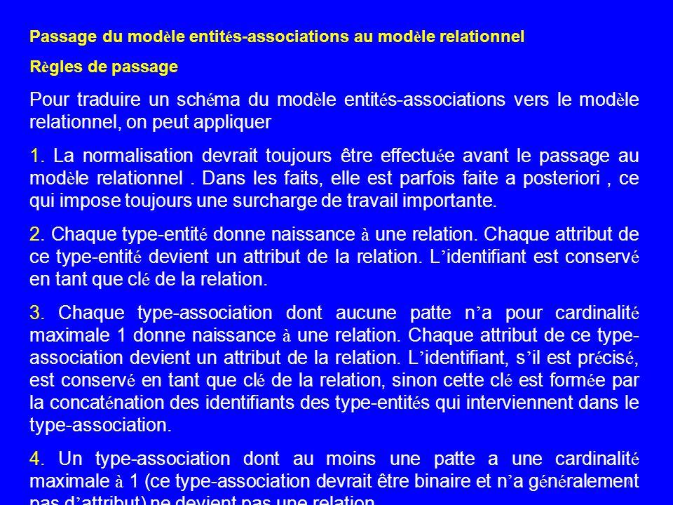 6 Passage du mod è le entit é s-associations au mod è le relationnel R è gles de passage Pour traduire un sch é ma du mod è le entit é s-associations vers le mod è le relationnel, on peut appliquer 1.