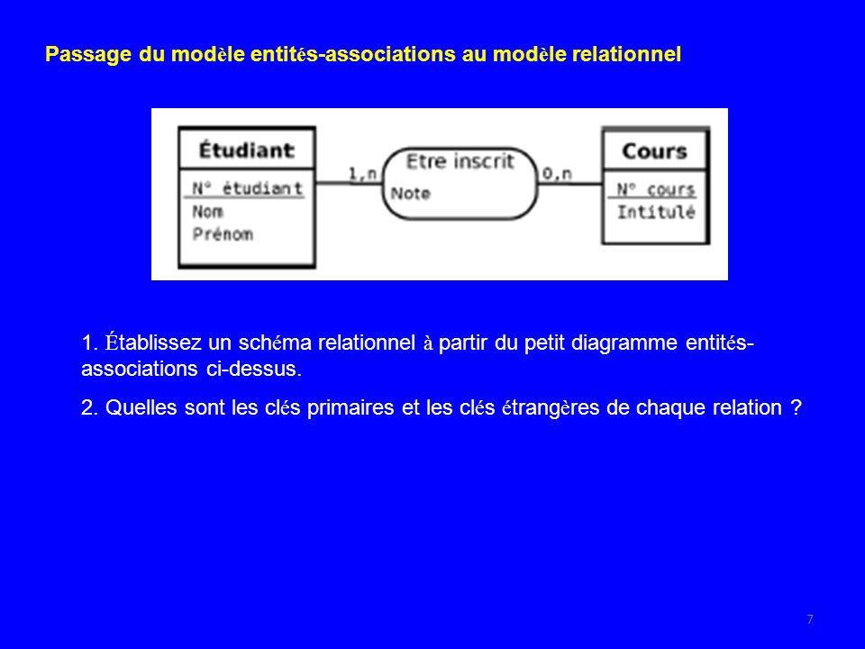 7 Passage du mod è le entit é s-associations au mod è le relationnel 1.