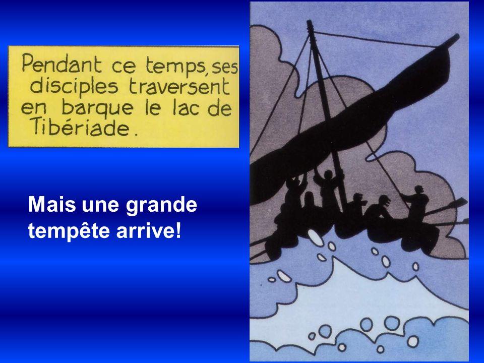 Heureusement Jésus est venu les rejoindre (en marchant sur leau!) et il a calmé la tempête!