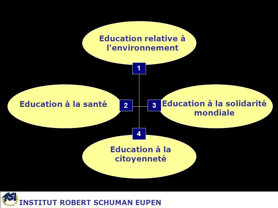Education à la citoyenneté Education relative à l'environnement Education à la santé Education à la solidarité mondiale 1 23 4 INSTITUT ROBERT SCHUMAN
