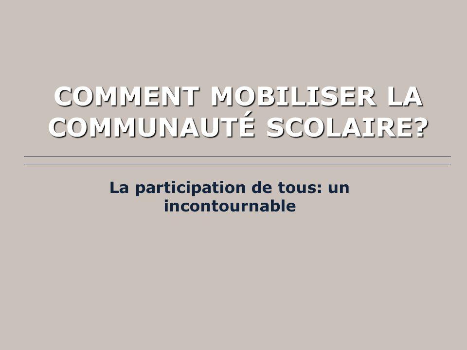 COMMENT MOBILISER LA COMMUNAUTÉ SCOLAIRE? La participation de tous: un incontournable