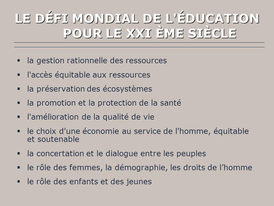 LAssemblée Générale des Nations-Unies a pris conscience de lenjeu de léducation dans le processus de construction dun avenir durable pour tous.