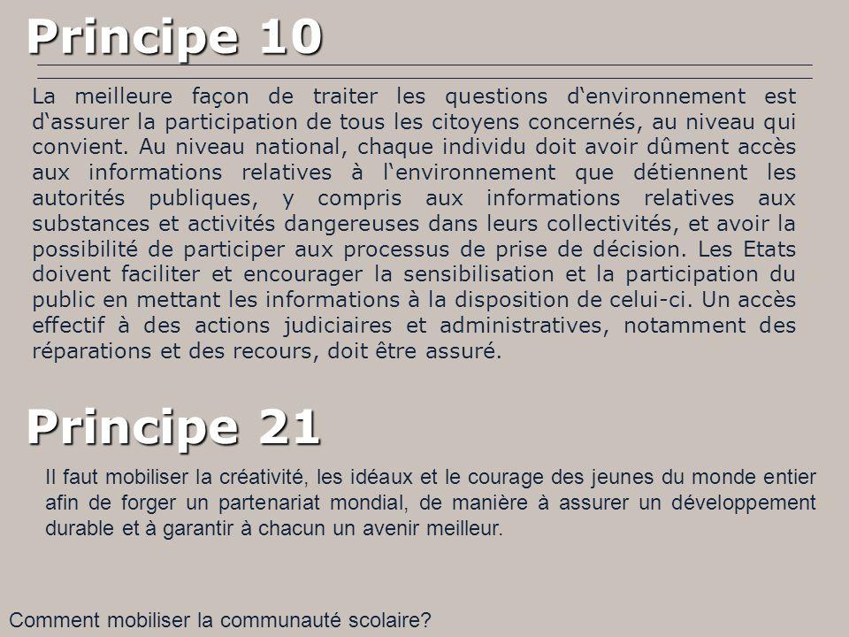 Principe 10 Principe 10 La meilleure façon de traiter les questions denvironnement est dassurer la participation de tous les citoyens concernés, au ni
