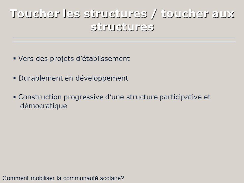 Toucher les structures / toucher aux structures Vers des projets détablissement Durablement en développement Construction progressive dune structure participative et démocratique Comment mobiliser la communauté scolaire?