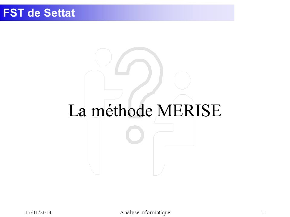 FST de Settat 17/01/2014Analyse Informatique2 Une méthode définit une démarche reproductible pour obtenir des résultats fiables.