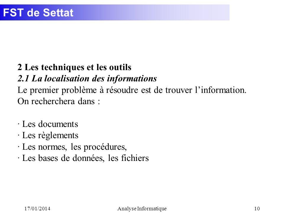FST de Settat 17/01/2014Analyse Informatique10 2 Les techniques et les outils 2.1 La localisation des informations Le premier problème à résoudre est de trouver linformation.