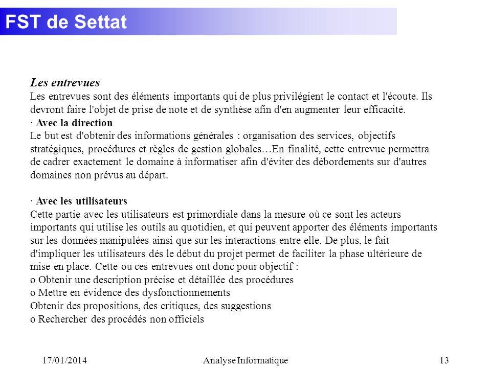 FST de Settat 17/01/2014Analyse Informatique13 Les entrevues Les entrevues sont des éléments importants qui de plus privilégient le contact et l'écout
