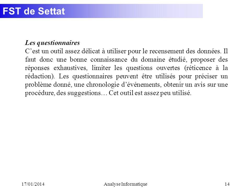 FST de Settat 17/01/2014Analyse Informatique14 Les questionnaires Cest un outil assez délicat à utiliser pour le recensement des données. Il faut donc