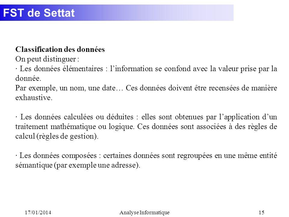 FST de Settat 17/01/2014Analyse Informatique15 Classification des données On peut distinguer : · Les données élémentaires : linformation se confond avec la valeur prise par la donnée.