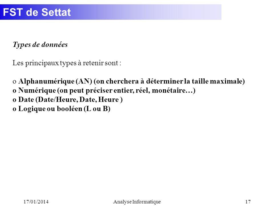 FST de Settat 17/01/2014Analyse Informatique17 Types de données Les principaux types à retenir sont : o Alphanumérique (AN) (on cherchera à déterminer